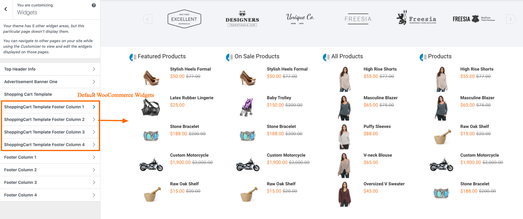 Shopping Cart Template FooterColumn 1/2/3/4 sidebar